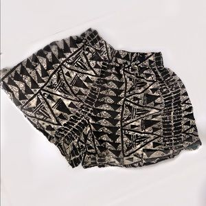 Black and Tan geometric print shorts